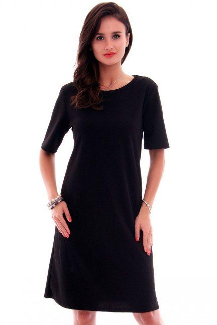 Sukienka elegancka midi CMK620 czarna