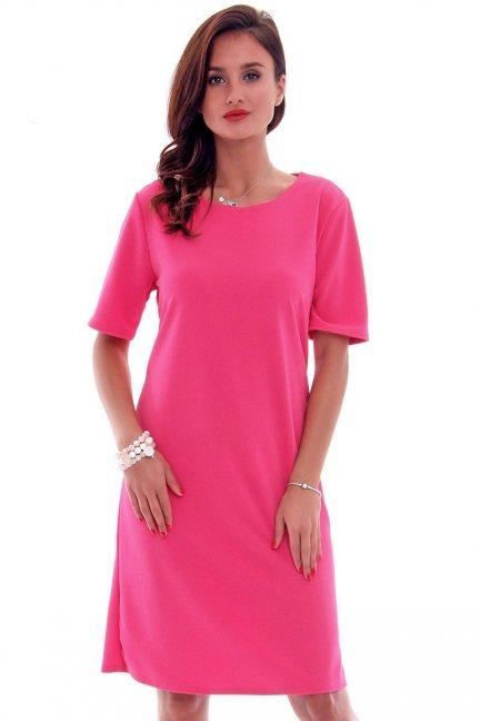 Sukienka elegancka midi CMK620 koralowa