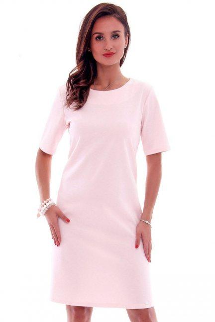 Sukienka elegancka midi CMK620 pudrowy róż