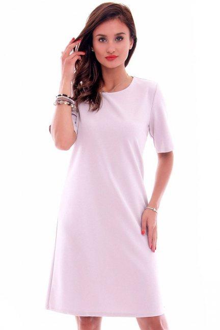 Sukienka elegancka midi CMK620 szara