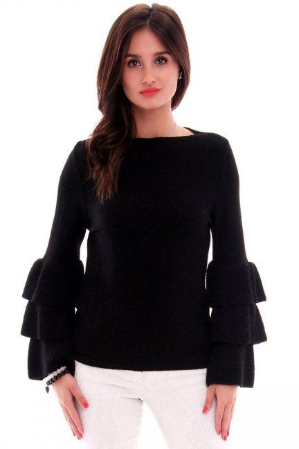 Sweter z falbankami CMK576 czarny