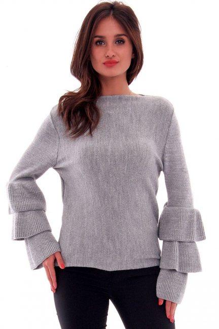 Sweter z falbankami CMK576 szary