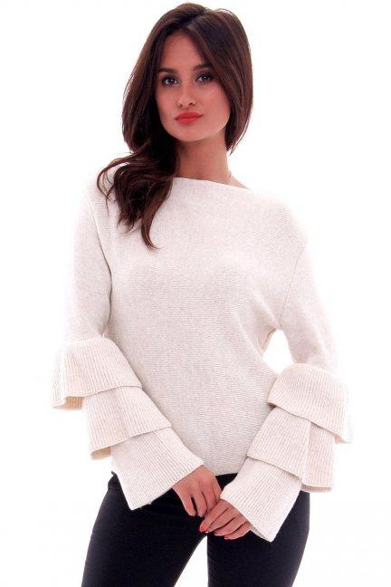 Sweter z falbankami CMK576 ecru