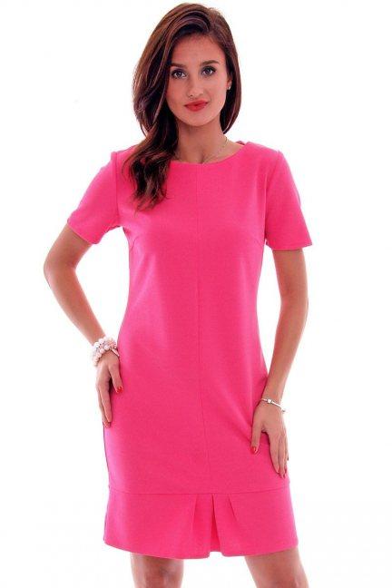 Sukienka z zakładkami CMK560 fuksja