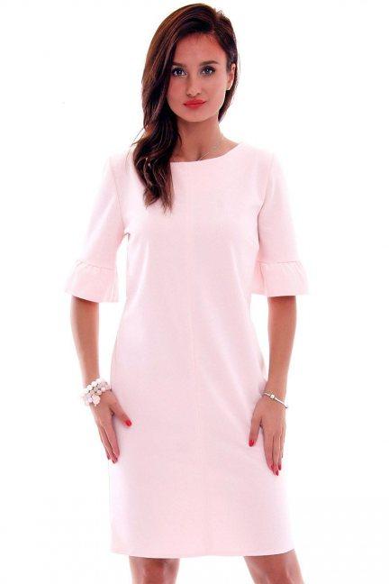 Sukienka ołówkowa damska CMK561 pudrowy róż
