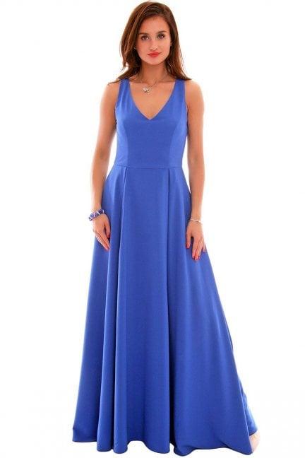 Sukienka wizytowa maxi CMK631 chabrowa