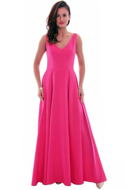Sukienka wizytowa maxi CMK631 fuksja