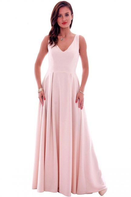 Sukienka wizytowa maxi CMK631 beżowa