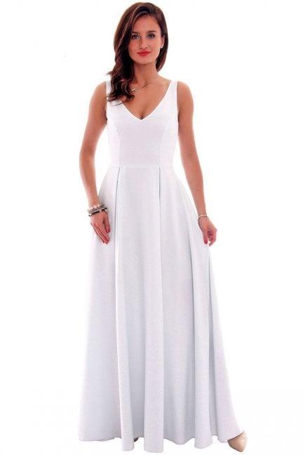 Sukienka wizytowa maxi CMK631 szara
