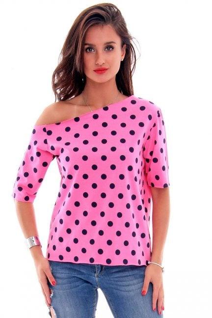 Bluzka bawełniana groszki CM297 różowa