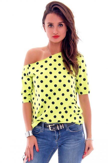 Bluzka bawełniana groszki CM297 limonkowa