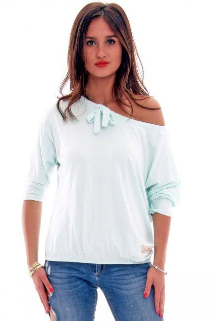 Bluzka bawełniana kokarda CM335 miętowa