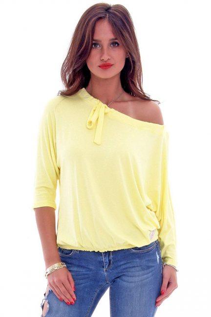 Bluzka bawełniana kokarda CM335 żółta