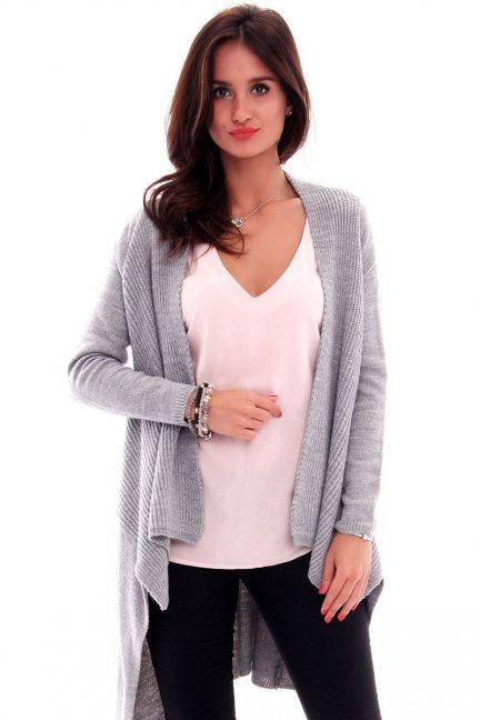 Sweter asymetryczny CMK632 szary