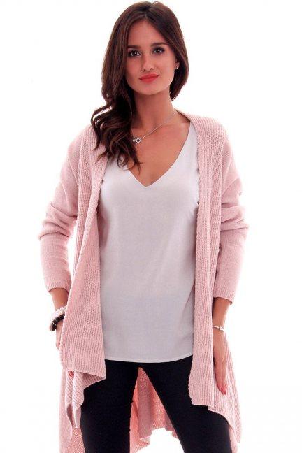 Sweter asymetryczny CMK632 różowy