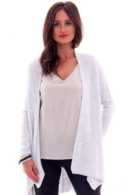 Sweter asymetryczny CMK632 błękitny