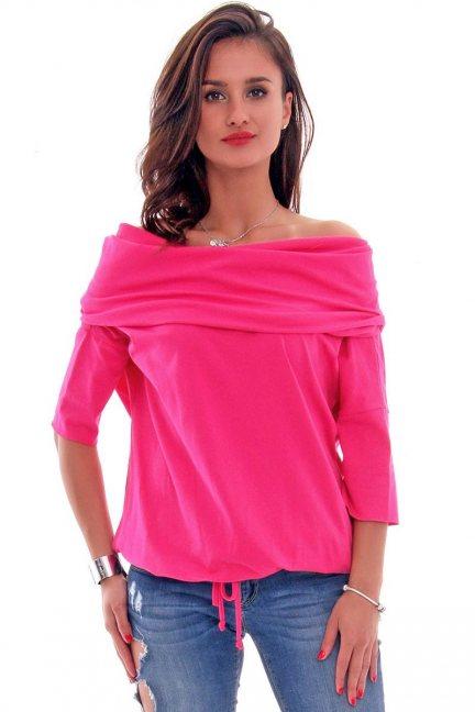 Bluzka bawełniana komin CM157 różowa