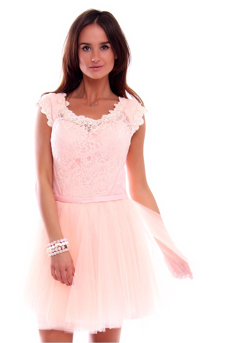 74cb5021f5 Sukienka z koronki i tiulu CMW02 różowa sukienki wizytowe CosmosModa