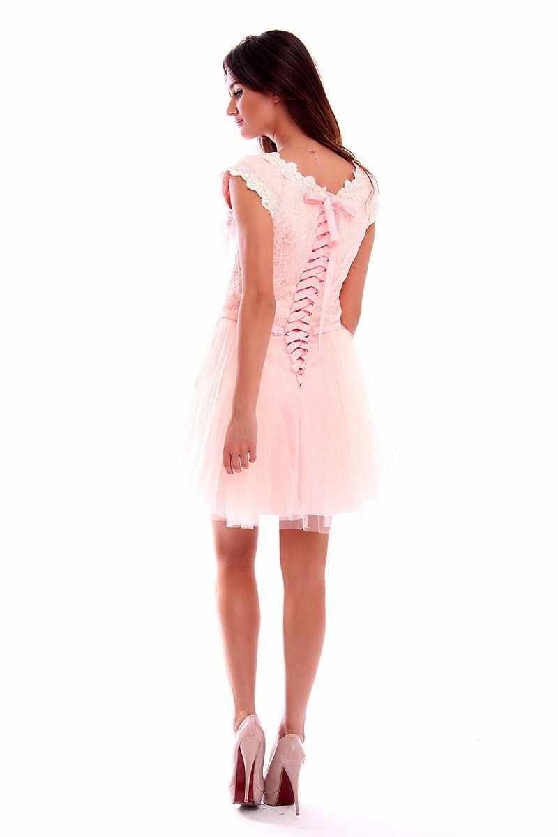 b51023b703 Sukienka z koronki i tiulu CMW02 różowa sukienki wizytowe CosmosModa