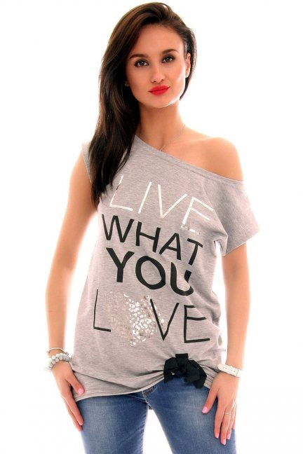 Bluzka oversize Live What You Love CM268 szara