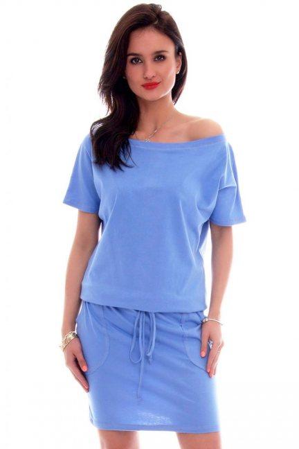 Sukienka dresowa wiązana CM138 niebieska