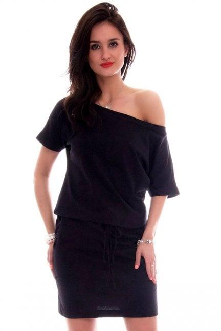 Sukienka dresowa wiązana CM138 czarna
