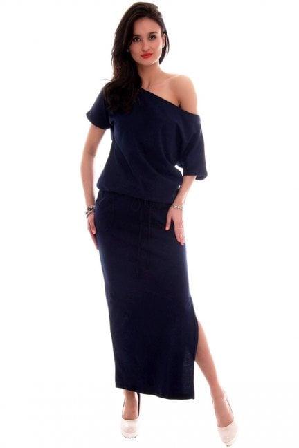 Sukienka dresowa maxi CM139 granatowa