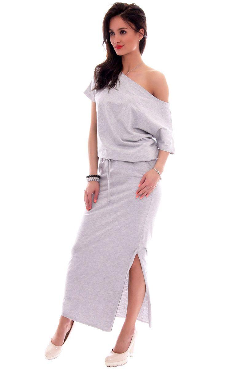 28b6d51076 Sukienka dresowa maxi CM139 szara sportowe sukienki damskie CosmosModa