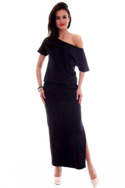 Sukienka dresowa maxi CM139 czarna