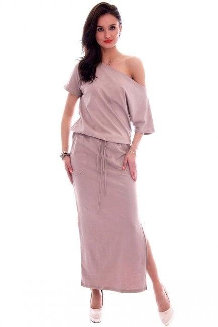 Sukienka dresowa maxi CM139 beżowa