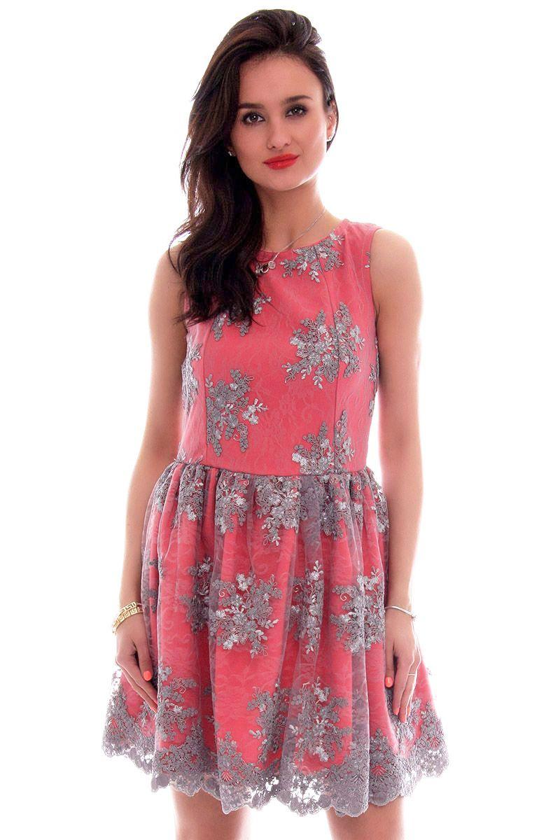 59b95efed8 Sukienka koronka mini CM503 szaro-czerwona modna odzież CosmosModa