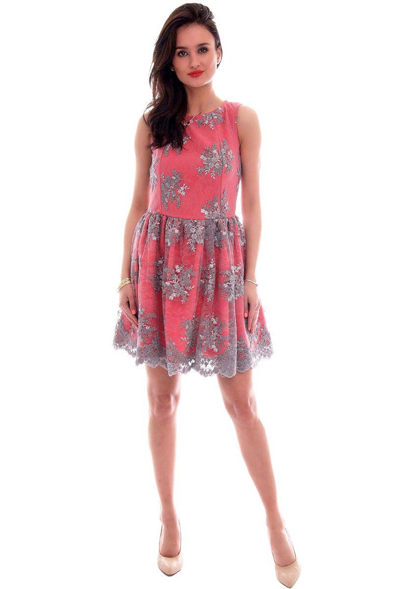 62c39c371e0801 Sukienka koronka mini CM503 szaro-czerwona; Sukienka koronkowa mini;  Sukienka rozkloszowana mini; Modne sukienki ...