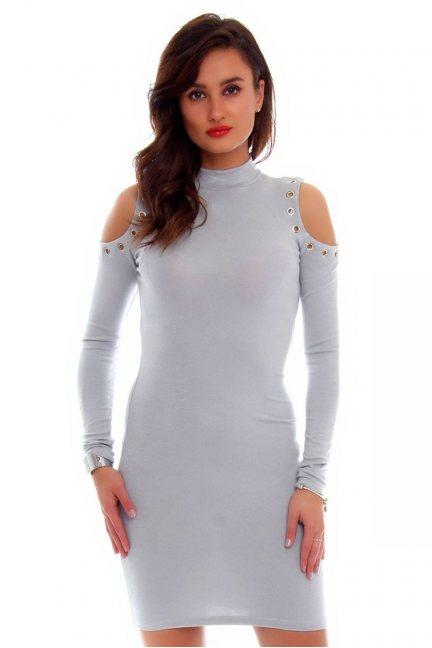 Sukienka wycięte ramiona CMK640 szara