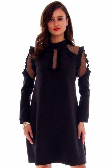Sukienka wizytowa siateczka CMK647 czarna