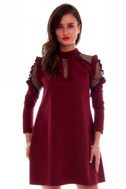 Sukienka wizytowa siateczka CMK647 bordowa