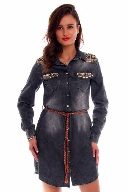 Sukienka jeansowa koraliki CMK645 szara