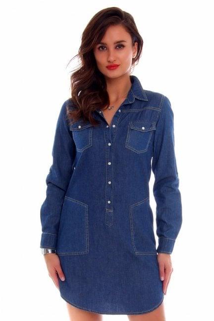 Sukienka z kołnierzykiem CMK646 jeansowa