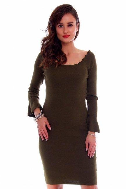 Sukienka dopasowana mini CMK648 khaki