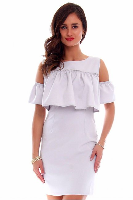 Sukienka mini falbanka CM577 szara