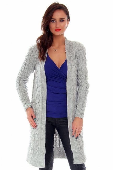 Sweter damski kardigan CMK658 szary