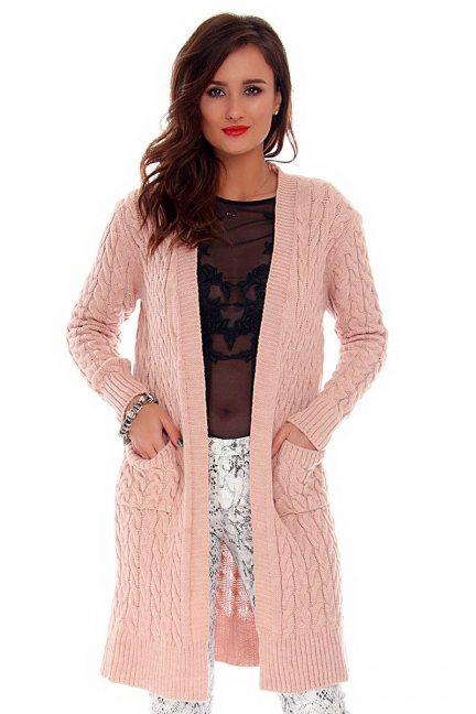 Sweter damski kardigan CMK658 różowy