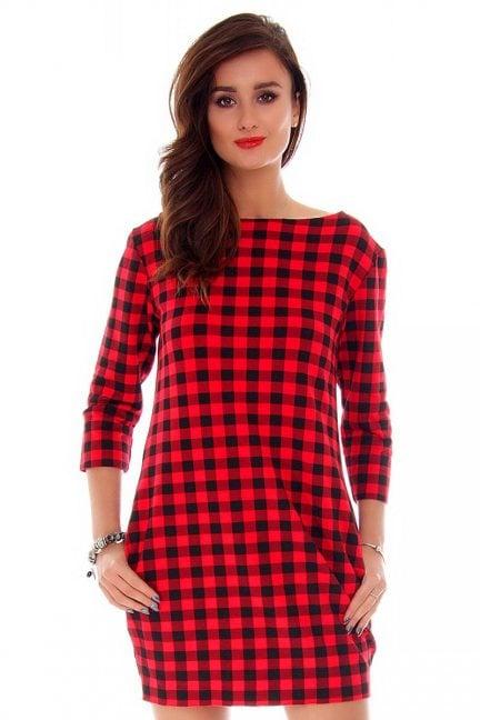 Sukienka dresowa w kratkę CM244 czerwona