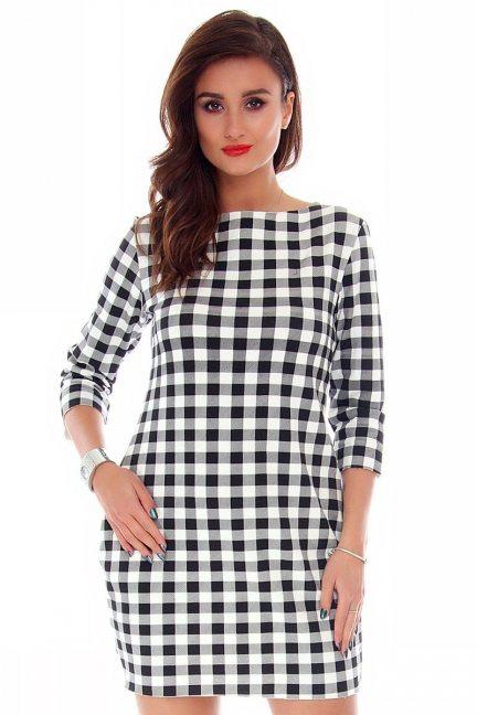 Sukienka dresowa w kratkę CM244 biało-czarna