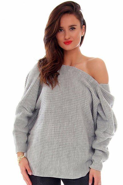 Sweter damski oversize CMK667 szary