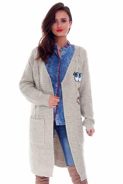 Sweter kardigan naszywki CMK680 beżowy