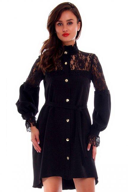 Sukienka asymetryczna mini CMK688 czarna