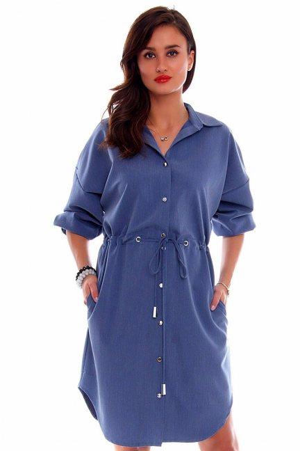 Sukienka koszulowa wiązana CMK689 niebieska