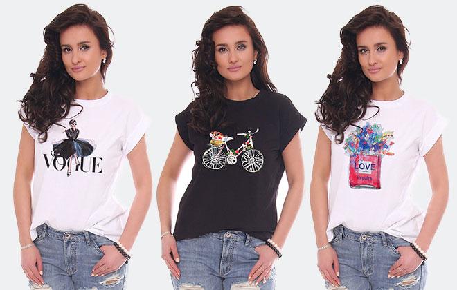 704ac7a9243a2d T-shirty damskie bawełniane z nadrukiem - CosmosModa